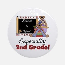 2nd Grade School is Cool Ornament (Round)