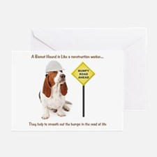 Basset Hound Construction Greeting Cards (Pk of 20