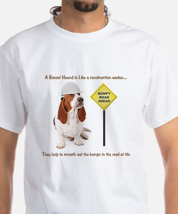 Basset Hound Construction White T-Shirt