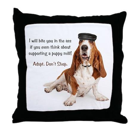 Basset Hound Biker Throw Pillow