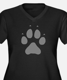 Wolf Paw Print Women's Plus Size V-Neck Dark T-Shi