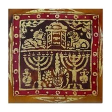 Old Jewish Symbols Tile Coaster