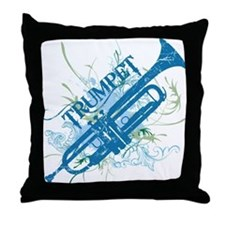 Cool Grunge Trumpet Throw Pillow