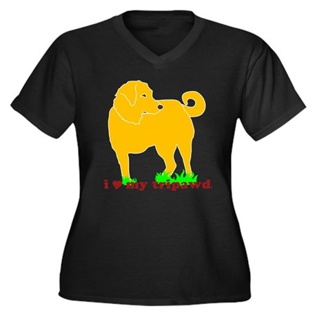 Golden Tripawd Love Women's Plus Size V-Neck Dark