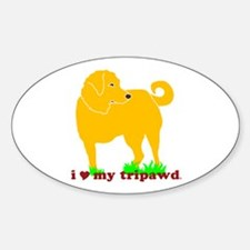 Golden Tripawd Love Sticker (Oval)