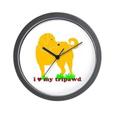 Golden Tripawd Love Wall Clock