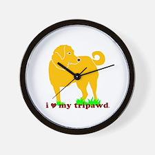 Golden Tripawd Love Wall Clock