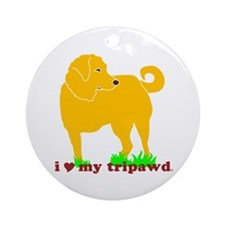 Golden Tripawd Love Ornament (Round)