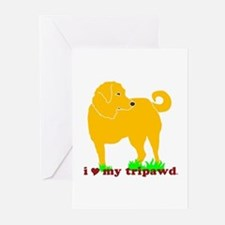 Golden Tripawd Love Greeting Cards (Pk of 10)
