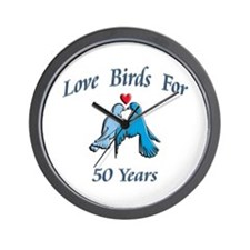 Cute 50th wedding anniversary party Wall Clock