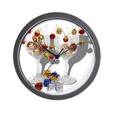 Cheerful Wine Glasses Wall Clock