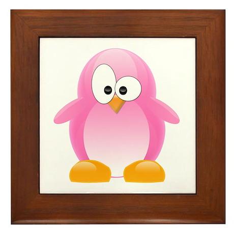 Pink Penguin Framed Tile