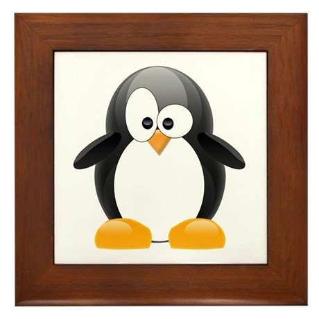 Black Penguin Framed Tile