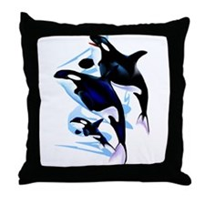 Orca Family Throw Pillow