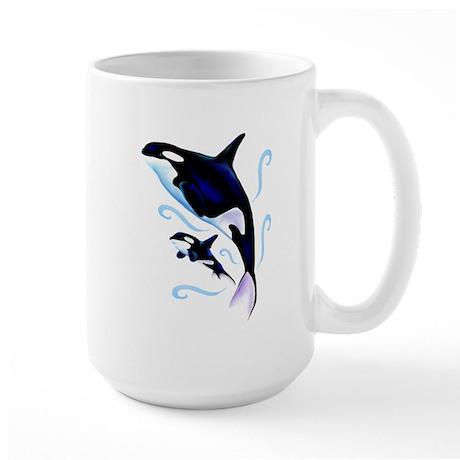 Orca Mom and Baby Large Mug