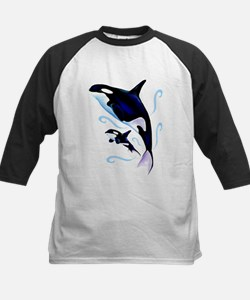 Orca Mom and Baby Kids Baseball Jersey