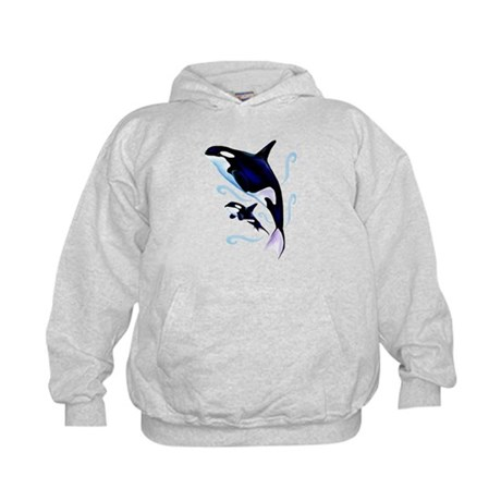 Orca Mom and Baby Kids Hoodie