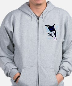 Orca Mom and Baby Zip Hoodie