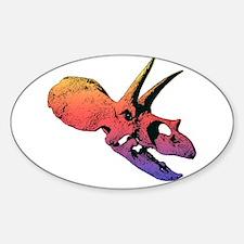 TOROSAURUS DINOSAUR SKULL Sticker (Oval)