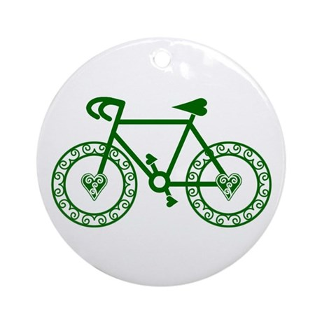 Green Bicycle Bike Cycling Ornament (Round)