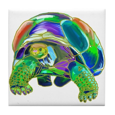 Rainbow Tortoise Tile Coaster