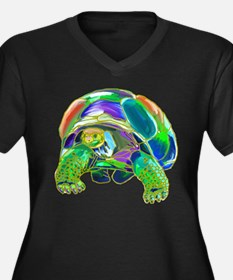 Rainbow Tortoise Women's Plus Size V-Neck Dark T-S