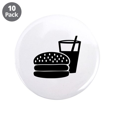"""Fast food - Burger 3.5"""" Button (10 pack)"""