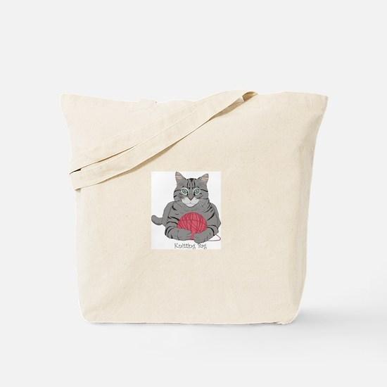Knitting Cat Tote Bag