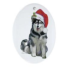 Alaskan Malamute Christmas Ornament (Oval)