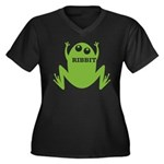 Frog: Ribbit Women's Plus Size V-Neck Dark T-Shirt