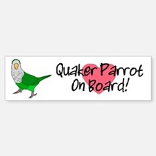 Quaker Parrot On Board Bumper Sticker (white)This