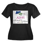 ASK ME! Women's Plus Size Scoop Neck Dark T-Shirt