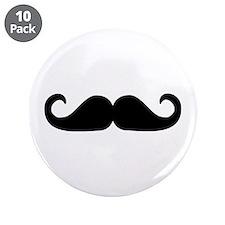 """Beard - Mustache 3.5"""" Button (10 pack)"""