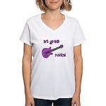 1st Grade Rocks! Guitar Women's V-Neck T-Shirt