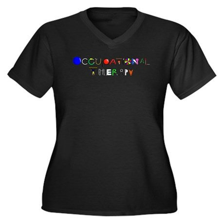 OT at work Women's Plus Size V-Neck Dark T-Shirt