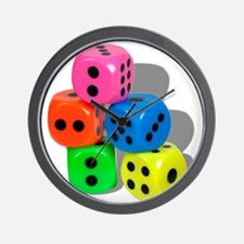 Dice Colorful Wall Clock