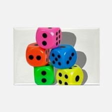 Dice Colorful Rectangle Magnet