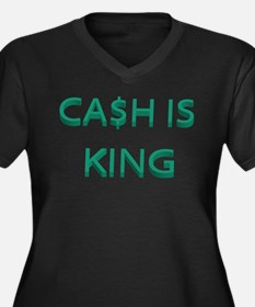 CASH IS KING Women's Plus Size V-Neck Dark T-Shirt