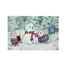 Winter Westie Snowman Rectangle Magnet