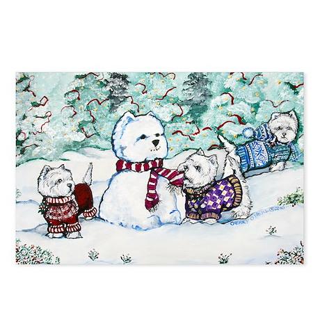 Winter Westie Snowman Postcards (Package of 8)