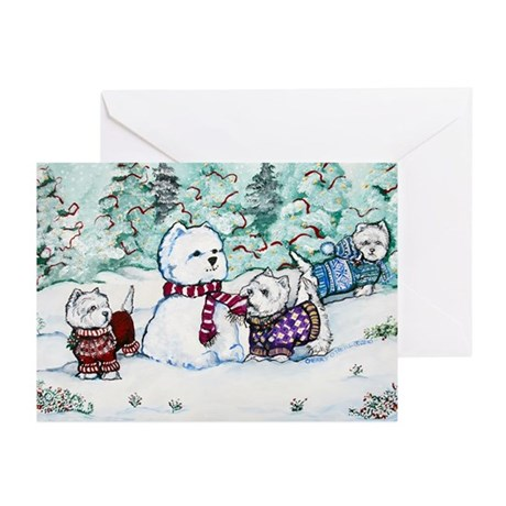 Winter Westie Snowman Greeting Cards (Pk of 10)