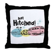 Retro Trailer Just Hitched Throw Pillow