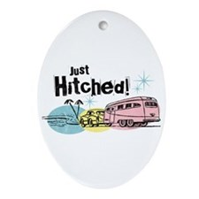 Retro Trailer Just Hitched Ornament (Oval)