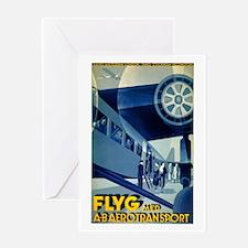Vintage Flyg Airplane Travel Greeting Card