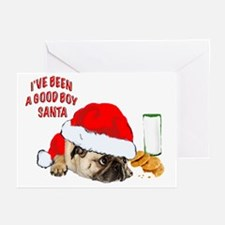 pug with Christmas cookies Greeting Cards (Pk of 1