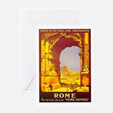 Vintage Rome Express Train Deluxe Greeting Card