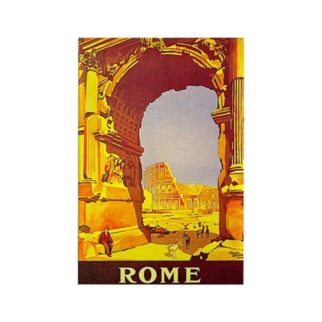Vintage Rome Express Train Deluxe Rectangle Magnet