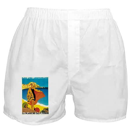 Vintage La Plage de Calvi 1928 Boxer Shorts