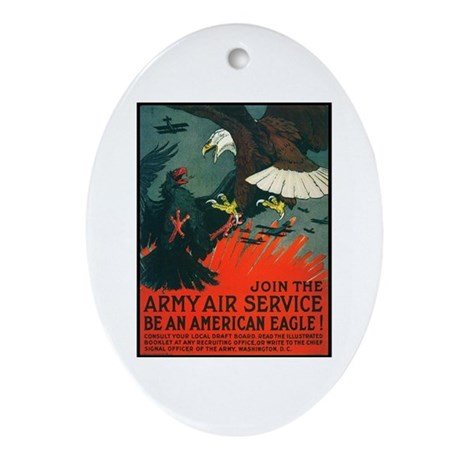 Army Air Service American Eagle Oval Ornament