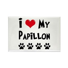 I Love My Papillon Rectangle Magnet